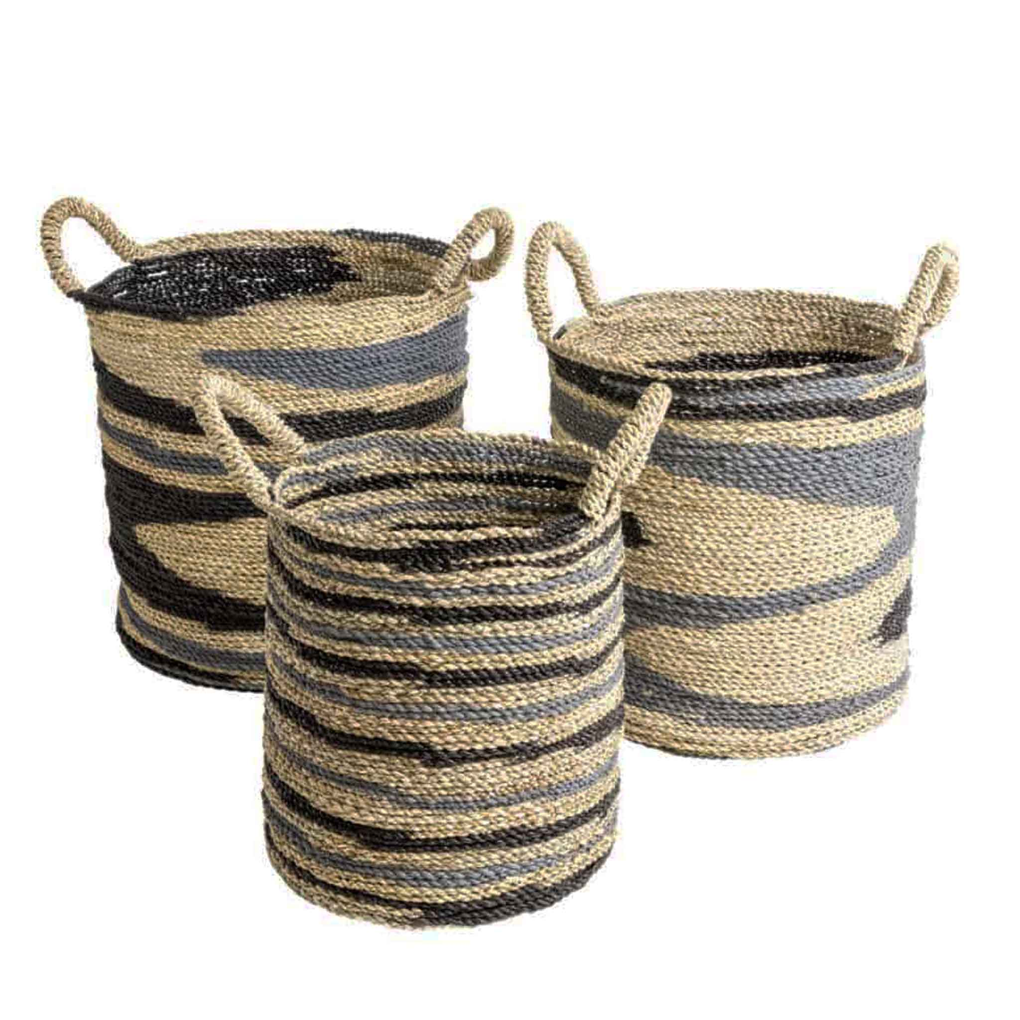 Ikat Seagrass Baskets - 3 Sizes - Unik by Nature