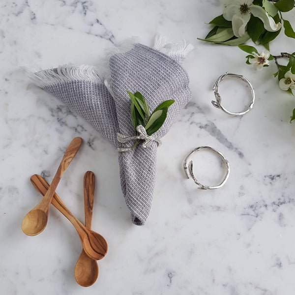 Van Verre Napkin Rings handcrafted metal silver colour - Unik by Nature
