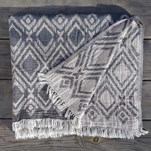 Pestemal Towel or Throw Aegiali Dark Grey & Beige - Unik by Nature