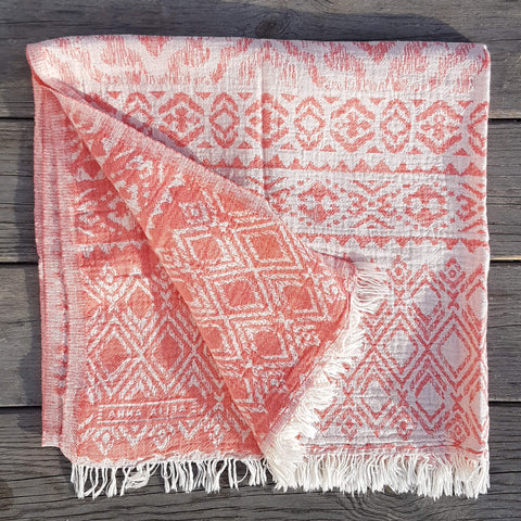 Pestemal Towel or Throw Hydra Coral Red - Unik by Nature