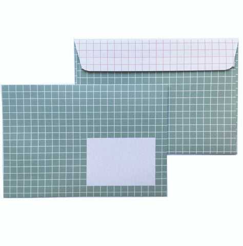 Envelopes Green and pink grid - set of 10 - Unik by Nature