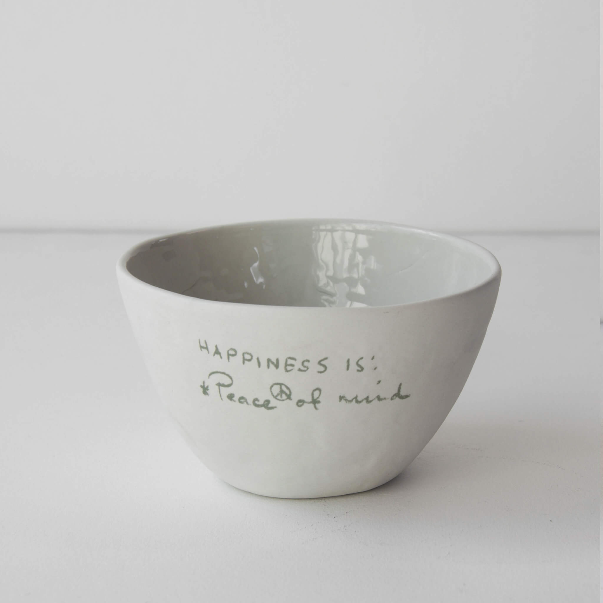 Historias Bowl with text - 2 options Snow white and Pearl Grey - Unik by Nature