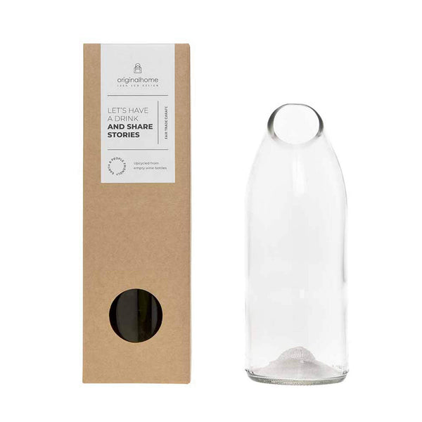 Clear Water Carafe Upcycled Wine Bottle - Unik by Nature