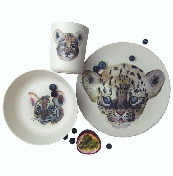 Kids Bamboo tableware set Leopard - 3 pieces - Unik by Nature
