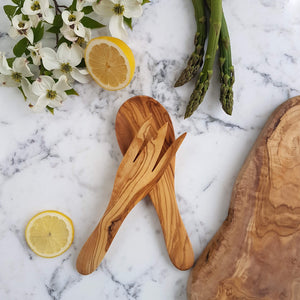 Sustainable Olive wood Handmade Shorty Salad Server - Unik by Nature