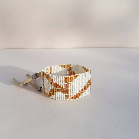 Bracelet Rhombus Warrior White & Gold - Unik by Nature
