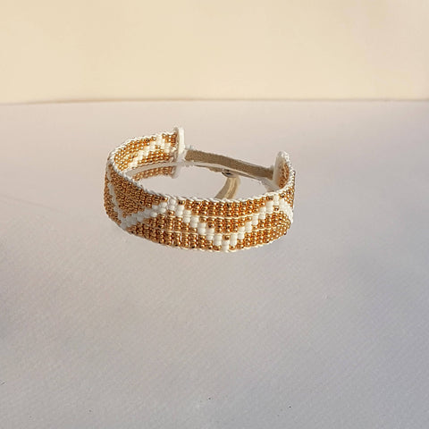 Bracelet ZigZag Warrior White & Gold - Unik by Nature