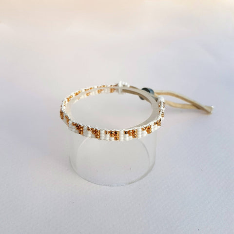 Bracelet  Warrior Triangle  White & Gold - Unik by Nature