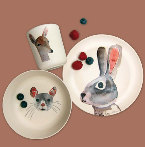 Kids Bamboo tableware set Forest animals - 3 pieces - Unik by Nature
