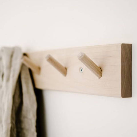 Rack with 4 Hooks Birch Wood - Unik by Nature