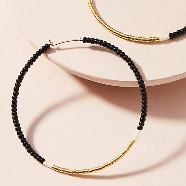Sidai Designs Endito Large Hoop Earrings Handmade Black, Gold & White - Unik by Nature