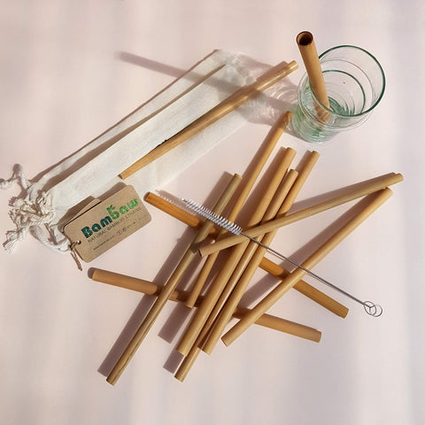 Bambaw Organic Bamboo Straws - 12 Pack - Unik by Nature