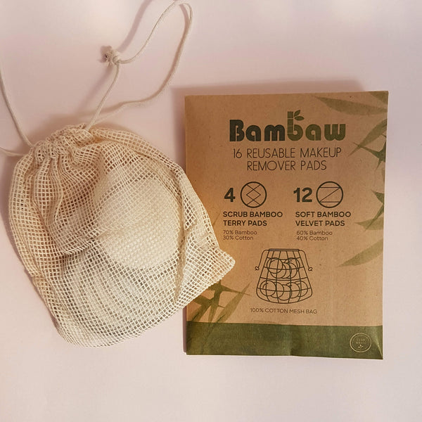 Bambaw Reusable Makeup Remover Pads - 16 Pack - Unik by Nature