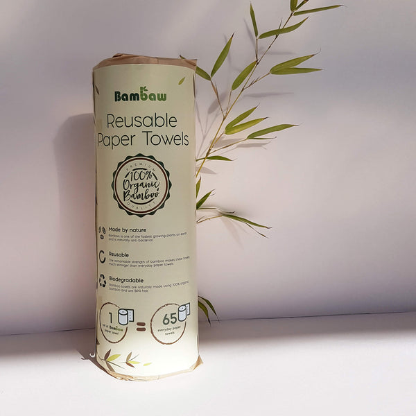 Bambaw Washable Organic Bamboo Paper Towel Roll - 20 Sheets - Unik by Nature