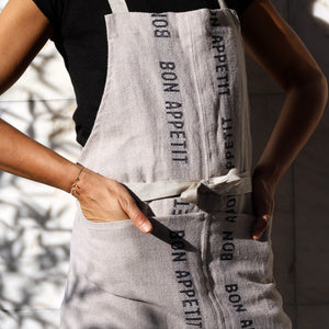 Charvet Éditions Bon Appetit Apron Natural Linen Made in France - Unik by Nature