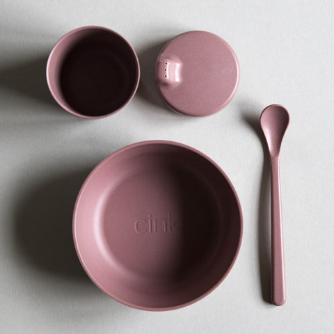 Cink Organic Bamboo Tableware Set Beet - 4 pieces - Unik by Nature