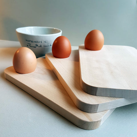 Breakfast Plate & Egg Cup Birch Wood - Unik by Nature