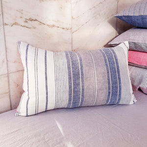 Unik by Nature Rosala Linen Cushion Cover White,Pearl Grey, Blue & Rose - Unik by Nature