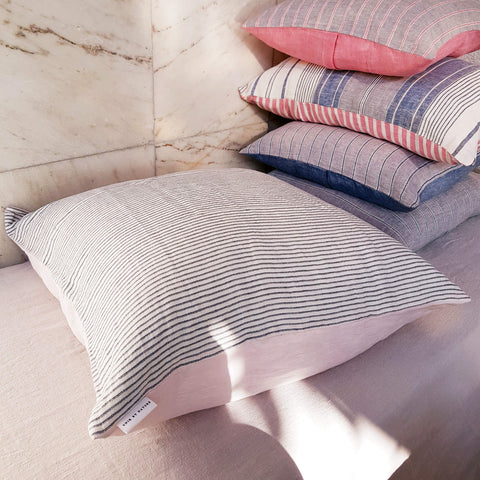 Unik by Nature Gullkrona Linen Cushion Cover Blue, Pearl Grey & Pink Blush size XL - Unik by Nature