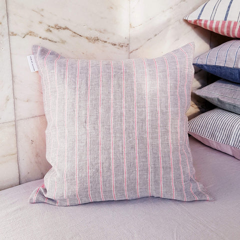Unik by Nature Padva Linen Cushion Cover Rose & Pearl Grey - Unik by Nature
