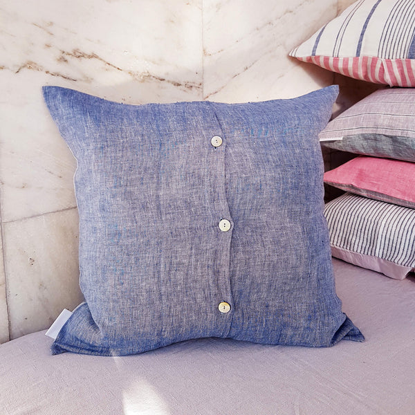 Unik by Nature Sandhamn Linen Cushion Cover 50 x 50 Baltic Blue - Unik by Nature