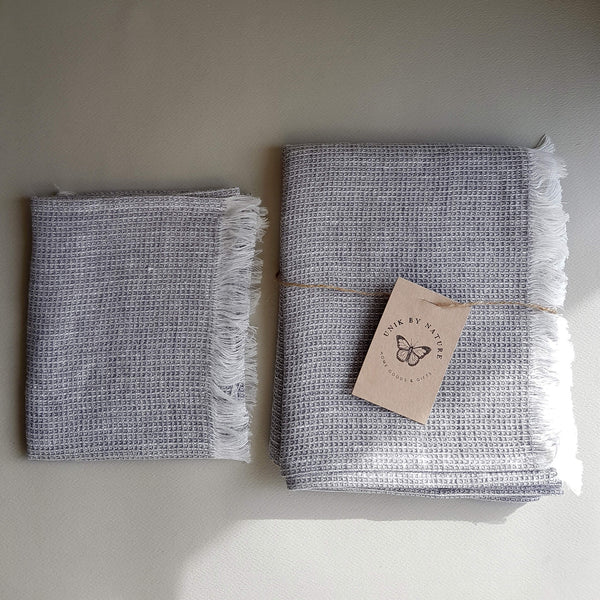 Unik by Nature Bromarf Linen Napkin with Fringes 32x45cm - Unik by Nature