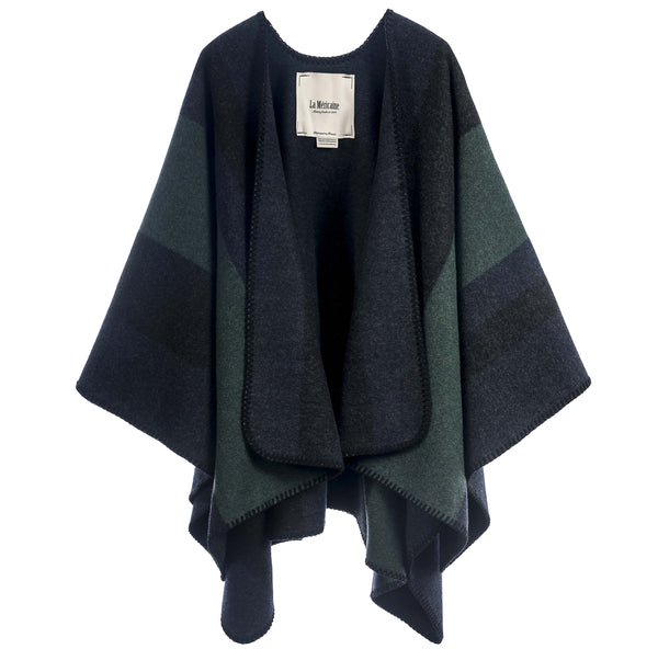 Wool Cape Wappo Forest Green Stripes - Unik by Nature