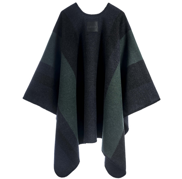 La Méricaine Wool Cape Wappo Forest Green Stripes - Unik by Nature
