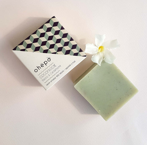 Ohëpo Vitalising Basil and Cardamom Bar Soap Coco Filoche - Unik by Nature