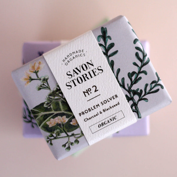 Savon Stories N°2 Organic Charcoal Problem Solver Bar Soap - Unik by Nature