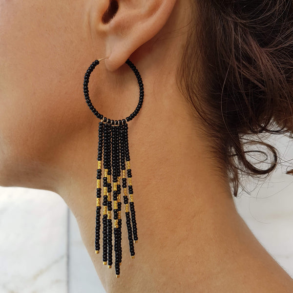 Sidai Designs Porcupine Earrings Handmade Black & Gold - Unik by Nature