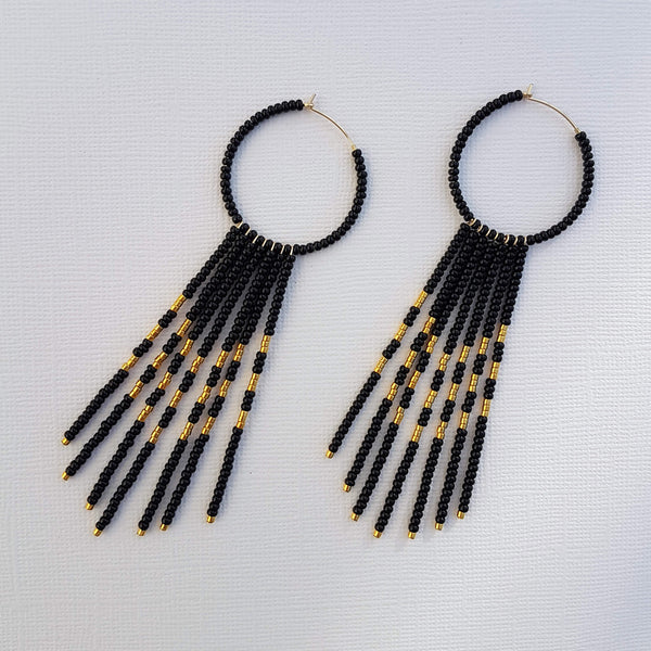 Porcupine Earrings Handmade Black & Gold - Unik by Nature