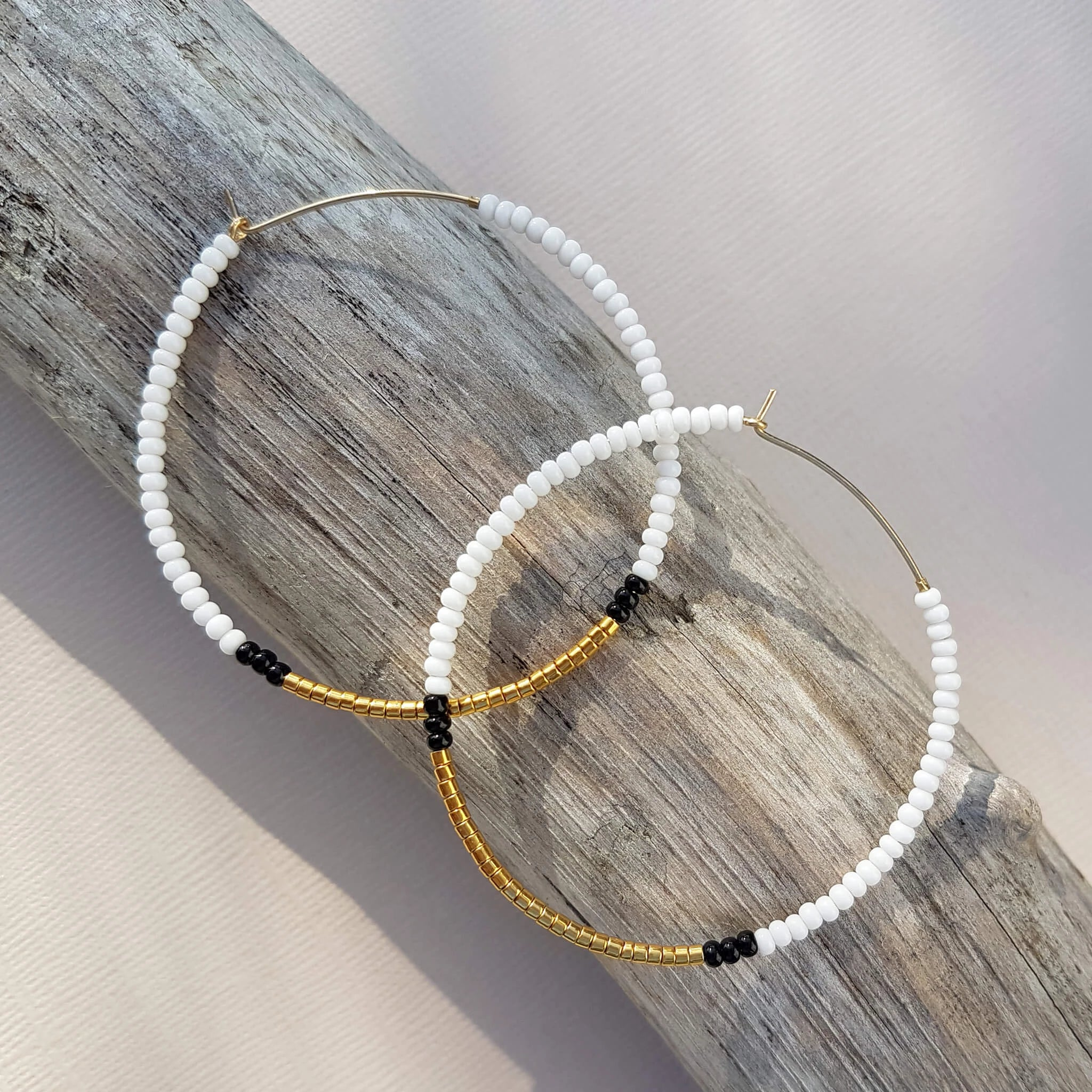 Endito Large Hoop Earrings Handmade White, Gold & Black - Unik by Nature