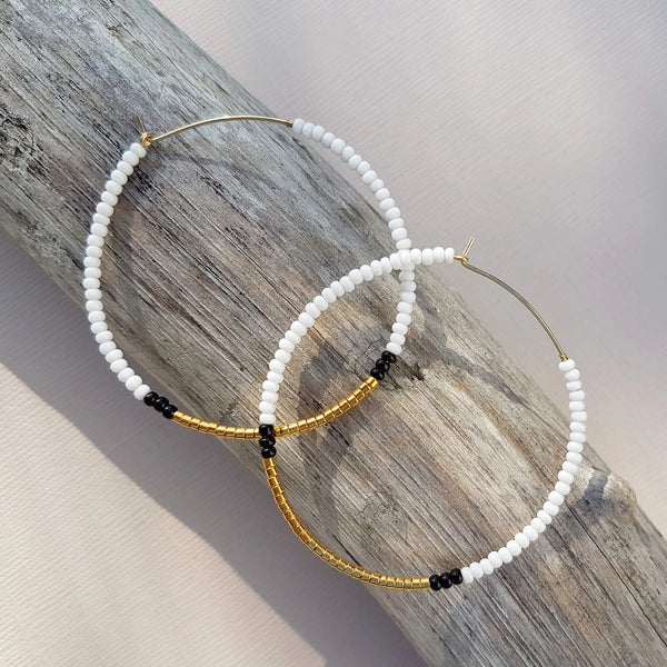 Sidai Designs Endito Large Hoop Earrings Handmade White, Gold & Black - Unik by Nature