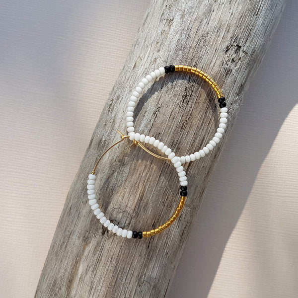 Sidai Designs Small Endito Hoop Earrings Handmade White, Black & Gold - Unik by Nature