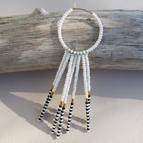 Porcupine Earrings Handmade White Black & Gold - Unik by Nature