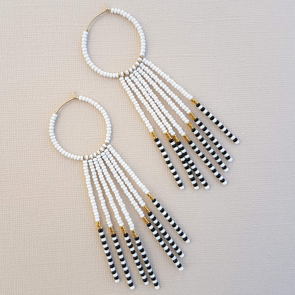Sidai Designs Porcupine Earrings Handmade White Black & Gold - Unik by Nature
