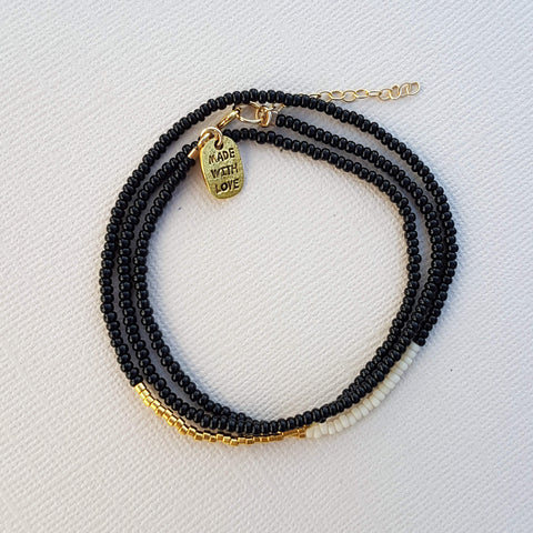 Endito Triple Wrap Bracelet Handmade Black, Cream & Gold - Unik by Nature