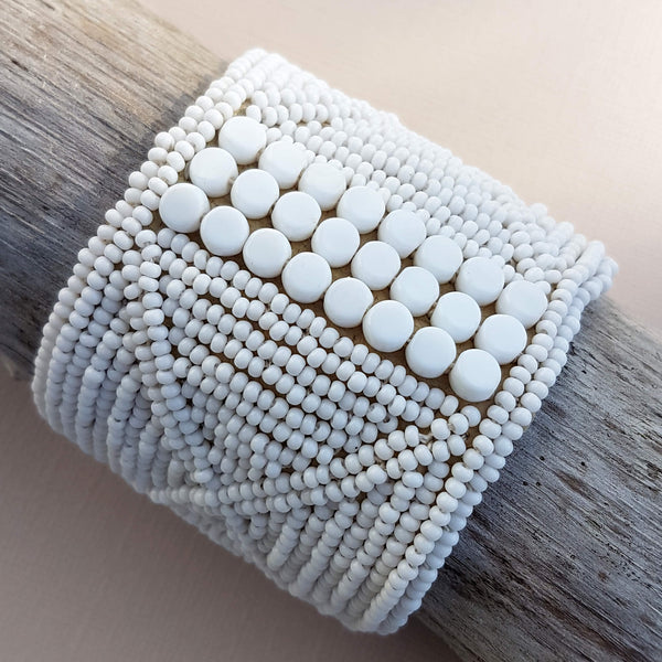 Sipolio Leather Bracelet Cuff Handmade White - Unik by Nature