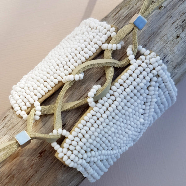 Sidai Designs Sipolio Leather Bracelet Cuff Handmade White - Unik by Nature