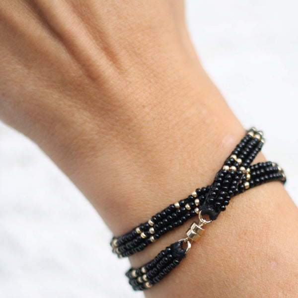 3 Dot Triangle Double Wrap Bracelet Handmade Black & Gold - Unik by Nature