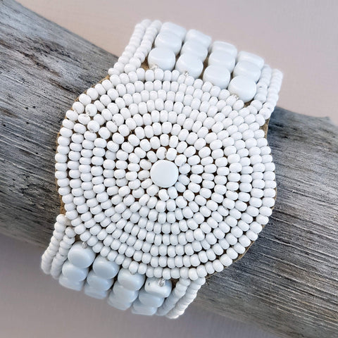 Sidai Designs Sipolio Leather Bracelet Disk Handmade White - Unik by Nature