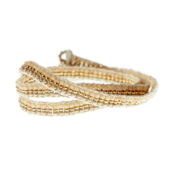 Sidai Designs Triple Wrap Warrior Bracelet Taupe, Gold & Ecru white - Unik by Nature