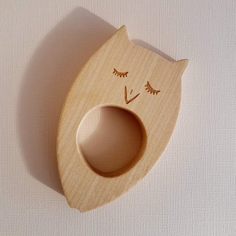 Wooden Story Sleepy Owl Teether Handcrafted - Unik by Nature