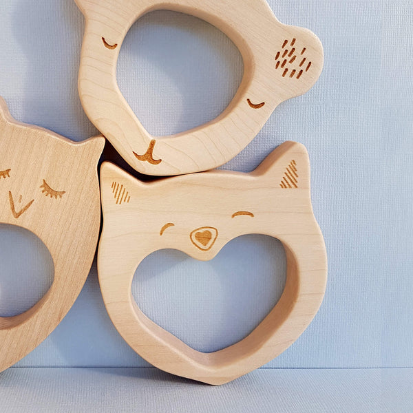 Wooden Story Smily Cat Teether Handcrafted - Unik by Nature