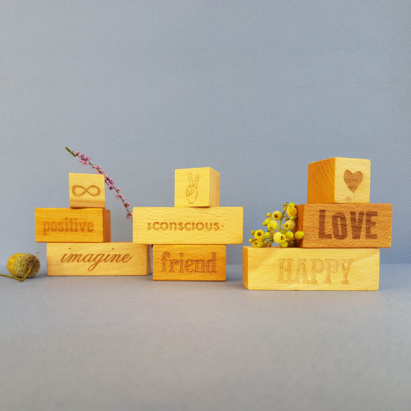 Wooden Story On my Mind - Conscious Friend 3 Engraved Wooden Blocks - Unik by Nature