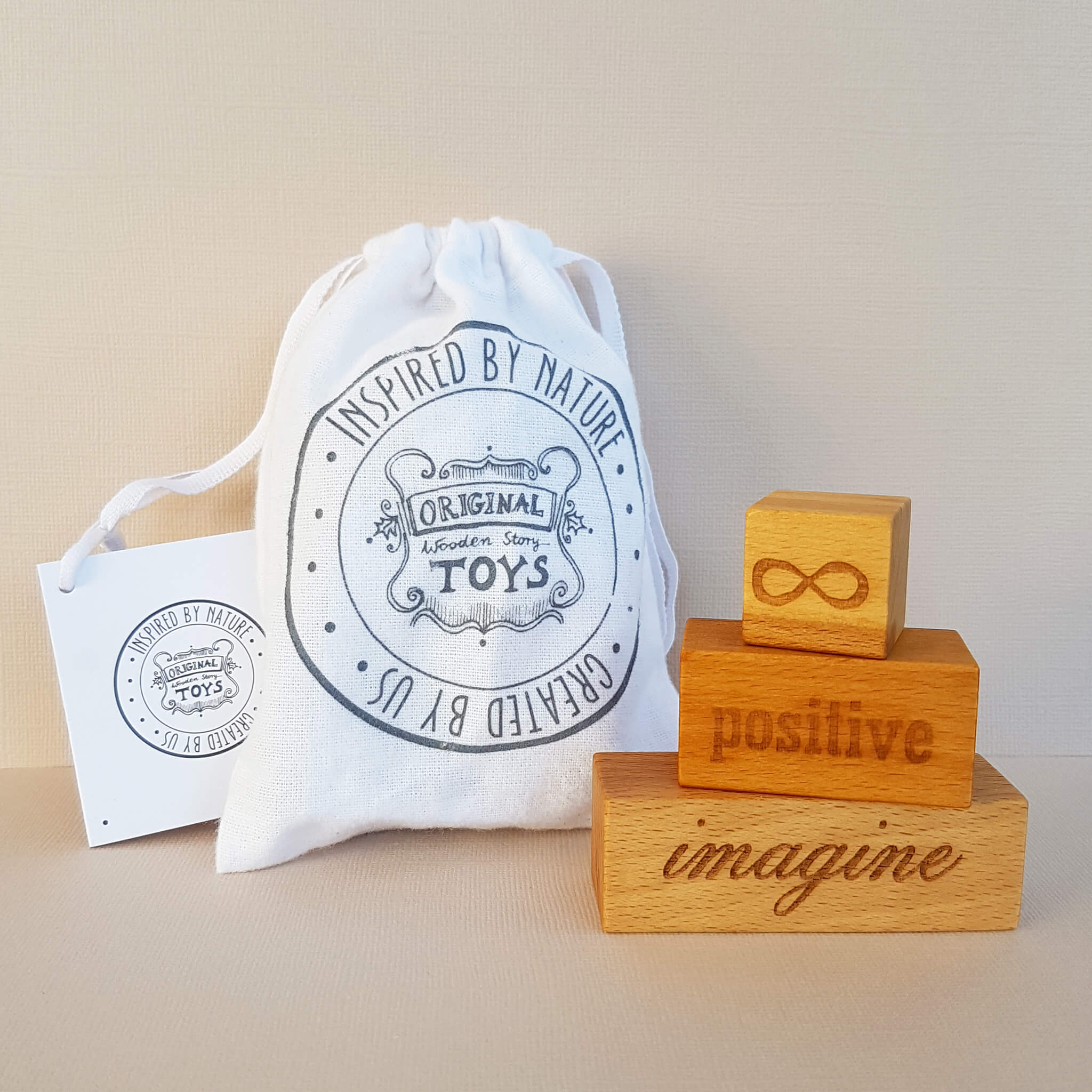 Wooden Story On my Mind - Positive Imagine 3 Engraved Wood Blocks - Unik by Nature