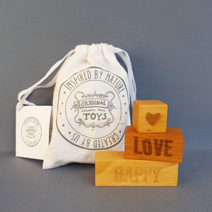 Wooden Story On my Mind -  Happy Love 3 Engraved Wooden Blocks