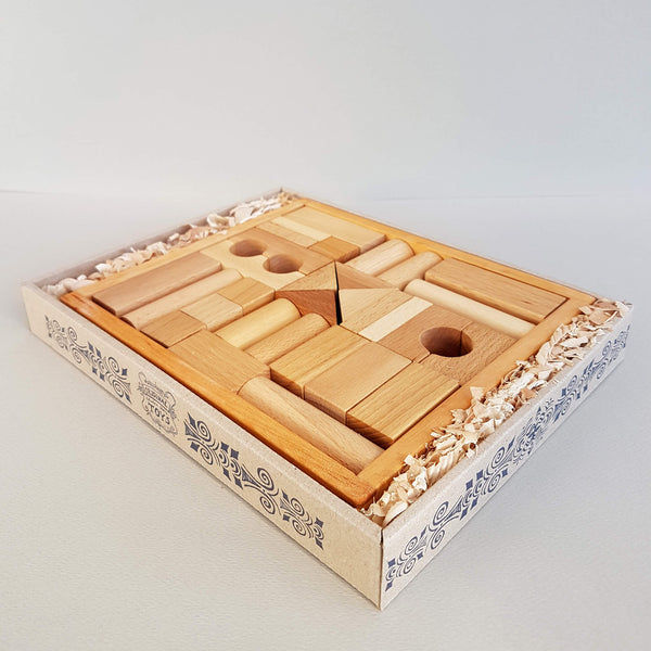 Wooden Story Natural Blocks 30 pieces Handcrafted - Unik by Nature