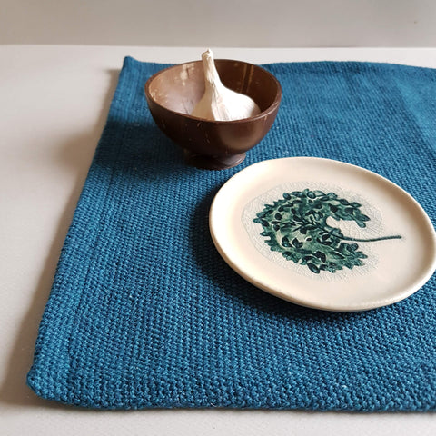 UNC Amsterdam Placemat Recycled Cotton Peacock Blue